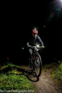 Exposure lights illuminate the trail during the 13 hours of darkness